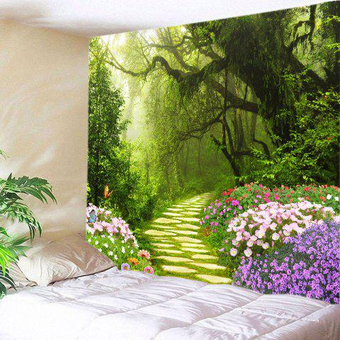 Floral Forest Path Print Tapestry Wall Hanging Art Decoration - Green - W79 Inch * L59 Inch