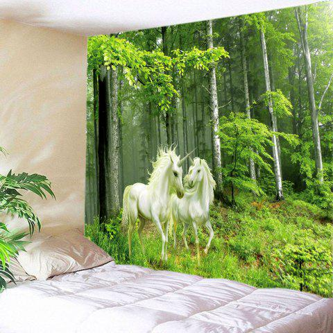 Forest Unicorns Print Tapestry Wall Hanging Art Decoration - Green - W79 Inch * L71 Inch
