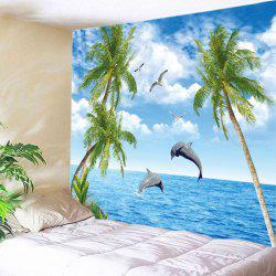 Trees Ocean Dolphin Print Tapestry Wall Hanging Art Decoration