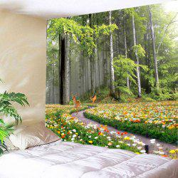 Forest Floral Deer Print Tapestry Wall Hanging Art Decoration