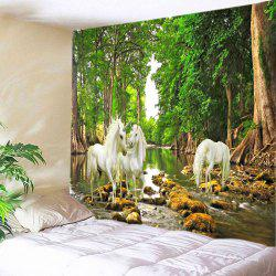 Forest River Unicorn Print Tapestry Wall Hanging Art Decoration