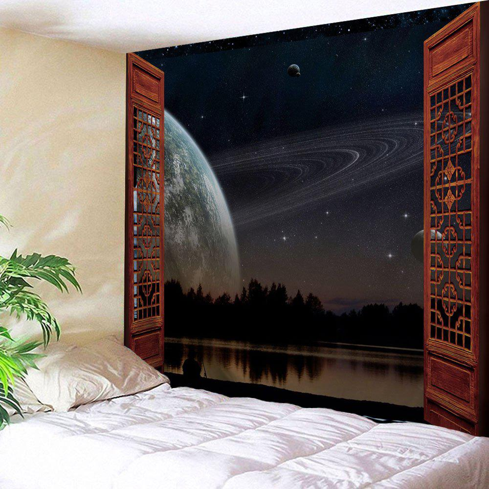 Window Solar System Print Tapestry Wall Hanging Art DecorationHOME<br><br>Size: W59 INCH * L59 INCH; Color: COLORMIX; Style: Natural; Theme: Landscape; Material: Polyester; Feature: Washable; Shape/Pattern: Window; Weight: 0.2300kg; Package Contents: 1 x Tapestry;