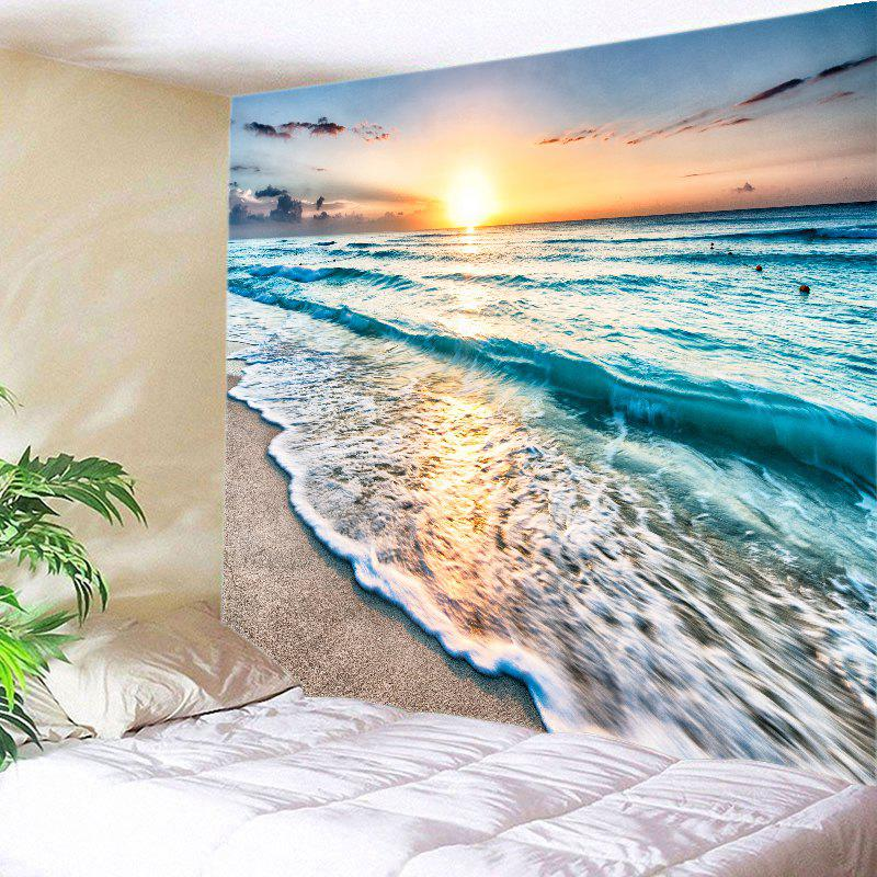 Sunrise Beach Waves Print Tapestry Wall Hanging Art DecorationHOME<br><br>Size: W91 INCH * L71 INCH; Color: LAKE BLUE; Style: Beach Style; Theme: Landscape; Material: Polyester; Feature: Washable; Shape/Pattern: Print; Weight: 0.4000kg; Package Contents: 1 x Tapestry;