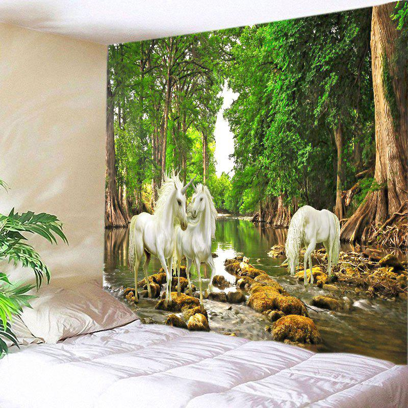Forest River Unicorn Print Tapestry Wall Hanging Art DecorationHOME<br><br>Size: W79 INCH * L59 INCH; Color: GREEN; Style: Natural; Theme: Animals,Landscape; Material: Polyester; Feature: Washable; Shape/Pattern: Animal,Forest; Weight: 0.3000kg; Package Contents: 1 x Tapestry;