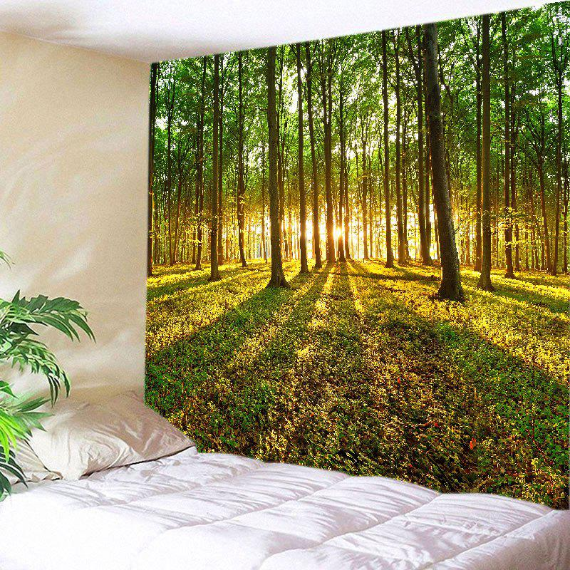Sunshine Forest Lawn Print Tapestry Wall Hanging Art DecorationHOME<br><br>Size: W91 INCH * L71 INCH; Color: GREEN; Style: Natural; Theme: Landscape; Material: Polyester; Feature: Washable; Shape/Pattern: Forest; Weight: 0.4000kg; Package Contents: 1 x Tapestry;