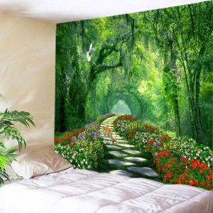 Forest Flowers Path Deer Print Tapestry Wall Hanging Art Decoration - Green - W79 Inch * L71 Inch