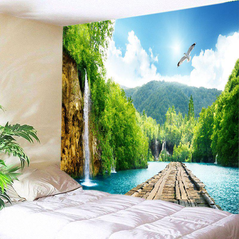 Mountains River Bridge Print Tapestry Wall Hanging Art DecorationHOME<br><br>Size: W91 INCH * L71 INCH; Color: GREEN; Style: Natural; Theme: Landscape; Material: Polyester; Feature: Washable; Shape/Pattern: Mountain,Plant; Weight: 0.4000kg; Package Contents: 1 x Tapestry;