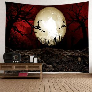 Halloween Moon Night Print Tapestry Wall Hanging Art Decoration - COLORMIX W91 INCH * L71 INCH