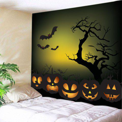 Halloween Night Pumpkins Print Tapestry Wall Hanging Art Decoration - Black - W59 Inch * L59 Inch