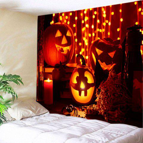 Halloween Pumpkin Candle Print Tapestry Wall Hanging Art Decoration - Dark Red - W91 Inch * L71 Inch
