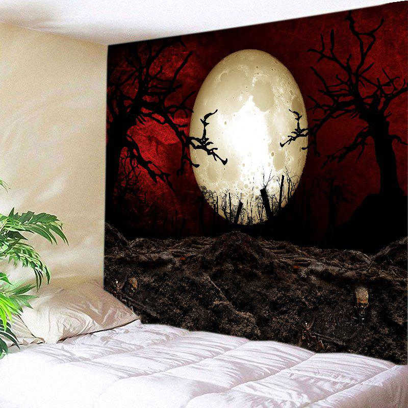 Halloween Moon Night Print Tapestry Wall Hanging Art DecorationHOME<br><br>Size: W91 INCH * L71 INCH; Color: COLORMIX; Style: Festival; Theme: Halloween; Material: Polyester; Feature: Washable; Shape/Pattern: Moon; Weight: 0.4000kg; Package Contents: 1 x Tapestry;