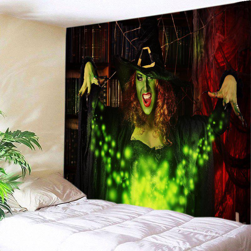 Halloween Witch Print Tapestry Wall Hanging Art DecorationHOME<br><br>Size: W91 INCH * L71 INCH; Color: COLORMIX; Style: Festival; Theme: Halloween; Material: Polyester; Feature: Washable; Shape/Pattern: Print; Weight: 0.4000kg; Package Contents: 1 x Tapestry;