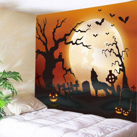 Halloween Moon Wolf Print Tapestry Wall Hanging Art Decoration - Jacinth - W91 Inch * L71 Inch
