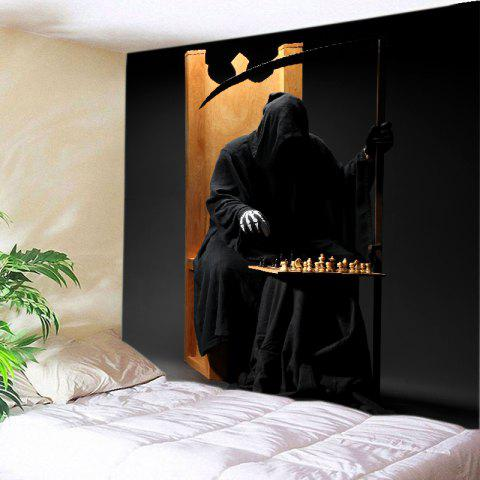 Halloween Cloak Skeleton Print Tapestry Wall Hanging Art Decoration - Black - W91 Inch * L71 Inch