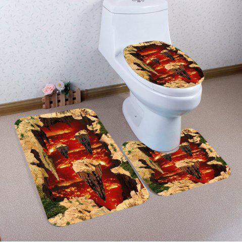 Sale 3D Ground Magma Pattern 3 Pcs Bath Mat Toilet Mat - RED  Mobile