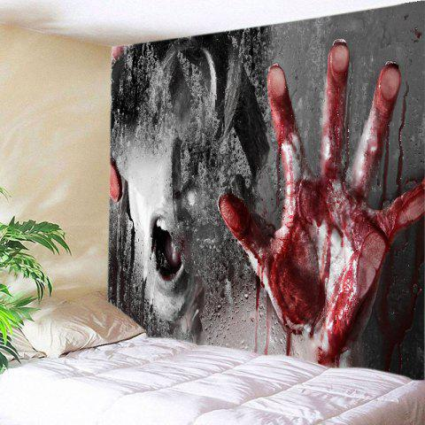 Scary Bloody Hand Print Tapestry Wall Hanging Art Decoration - Colormix - W91 Inch * L71 Inch
