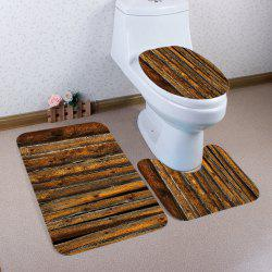 Vintage Wood Flooring Pattern 3 Pcs Bath Mat Toilet Mat -