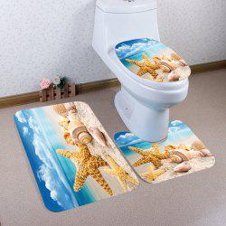 Beach Starfish Conch Pattern Ensemble de toilette pour matelas de bain 3 pcs -