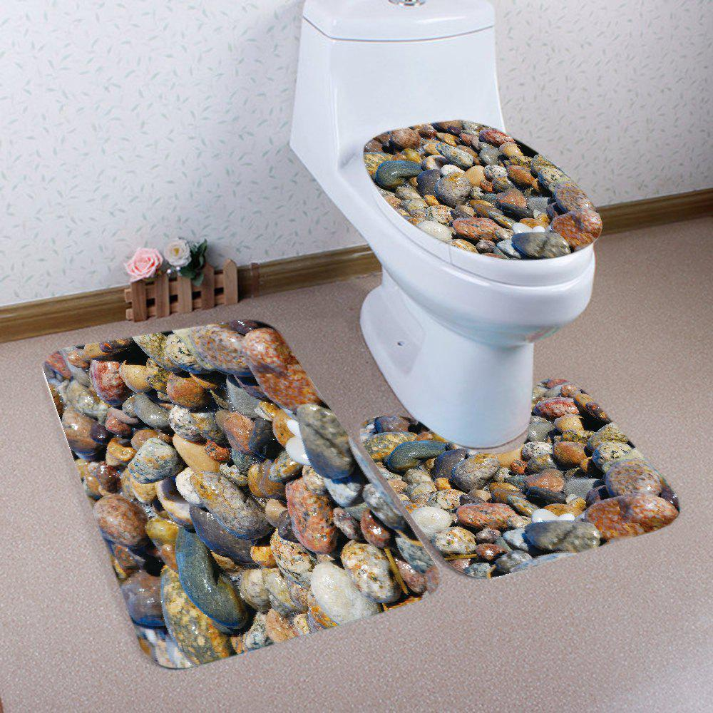 Sea Stones Pattern 3 Pcs Bath Mat Toilet MatHOME<br><br>Color: COLORMIX; Products Type: Bath Mats; Materials: Flannel; Pattern: Print; Style: Fresh Style; Size: Pedestal Rug: 40*50CM, Lid Toilet Cover: 38*43CM, Bath Mat: 50*80CM; Package Contents: 1 x Pedestal Rug 1 x Lid Toilet Cover 1 x Bath Mat;