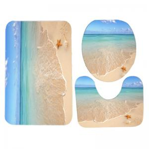Beach Starfish Pattern 3 Pcs Bath Mat Toilet Mat -