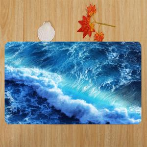Ocean Wave Pattern 3 Pcs Bath Mat Toilet Mat - DEEP BLUE