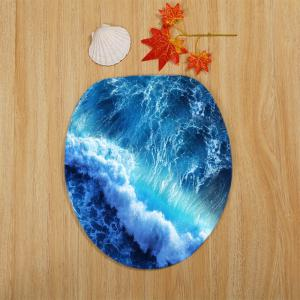 Ocean Wave Pattern 3 Pcs Bath Mat Toilet Mat -