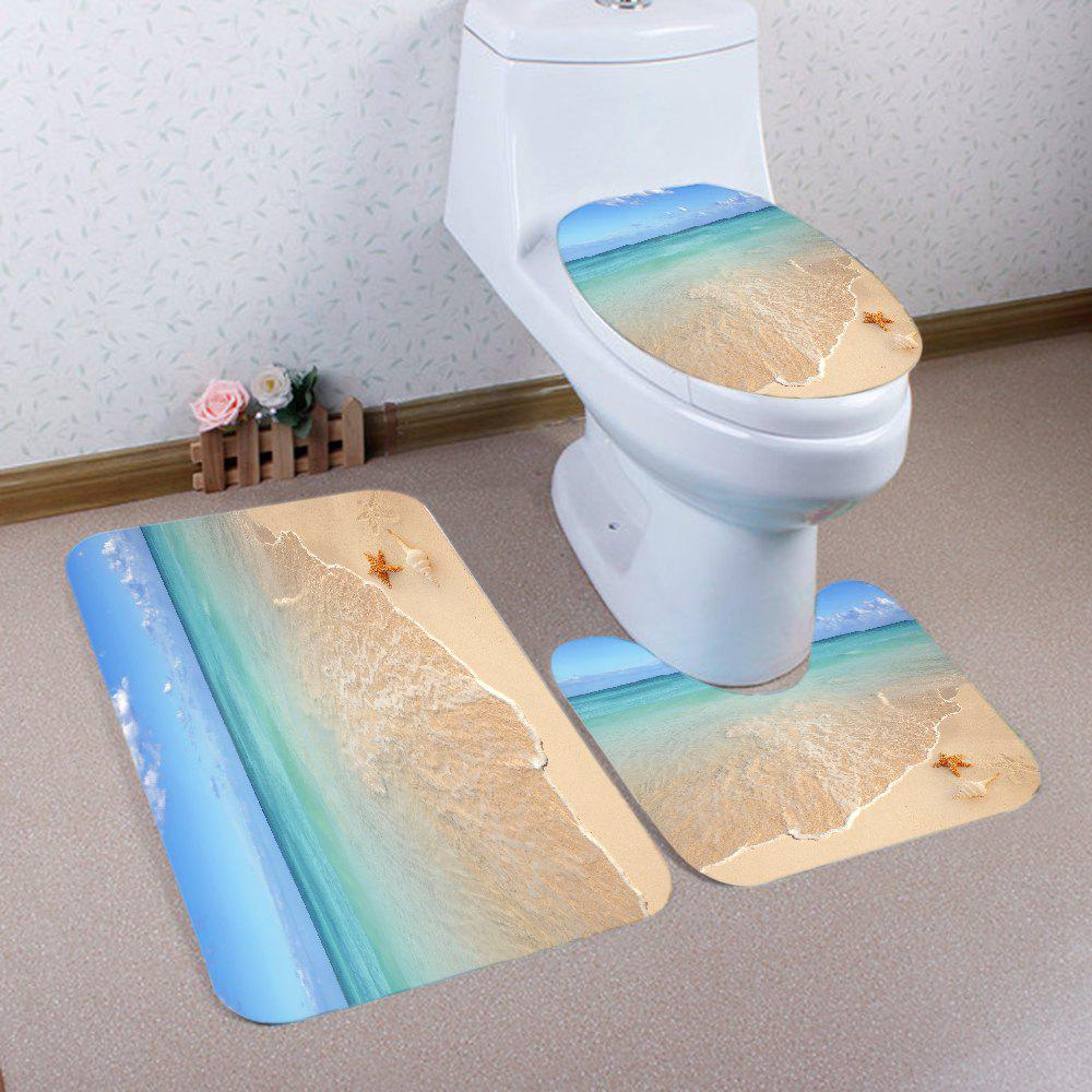 Beach Starfish Pattern 3 Pcs Bath Mat Toilet MatHOME<br><br>Color: COLORMIX; Products Type: Bath Mats; Materials: Flannel; Pattern: Star; Style: Beach Style; Size: Pedestal Rug: 40*50CM, Lid Toilet Cover: 38*43CM, Bath Mat: 50*80CM; Package Contents: 1 x Pedestal Rug 1 x Lid Toilet Cover 1 x Bath Mat;