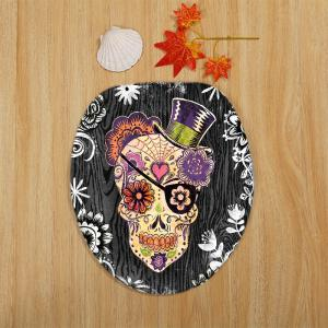 3Pcs Skulls Flowers Printed Bathroom Toilet Rug Set - COLORMIX