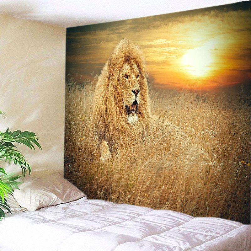 Hanging Prairie Lion Printed Wall Decor TapestryHOME<br><br>Size: W91 INCH * L71 INCH; Color: DEEP YELLOW; Style: Natural; Theme: Animals; Material: Polyester; Feature: Removable,Washable; Shape/Pattern: Animal; Weight: 0.4100kg; Package Contents: 1 x Tapestry;