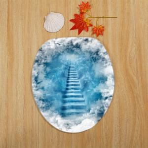 3D Cloud Stairs Pattern 3 Pcs Bath Mat Toilet Mat - BLUE