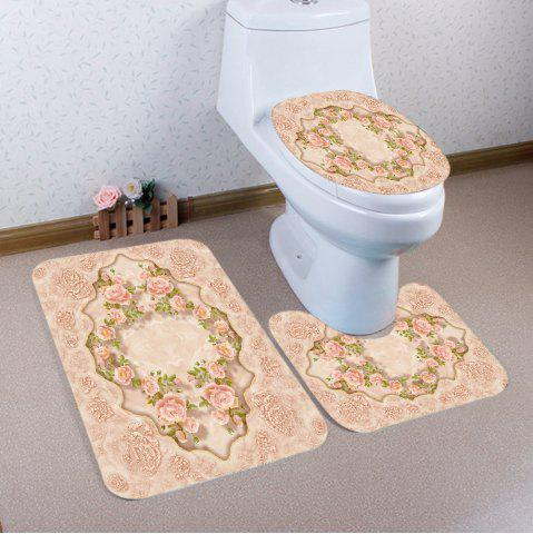 Unique Flowers Pattern 3 Pcs Bath Mat Toilet Mat - PINKBEIGE  Mobile
