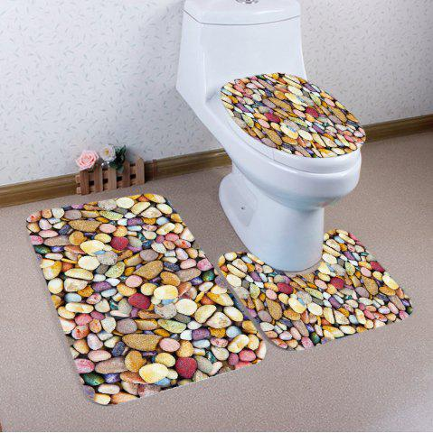 Chic Colorful Stones Pattern 3 Pcs Bath Mat Toilet Mat