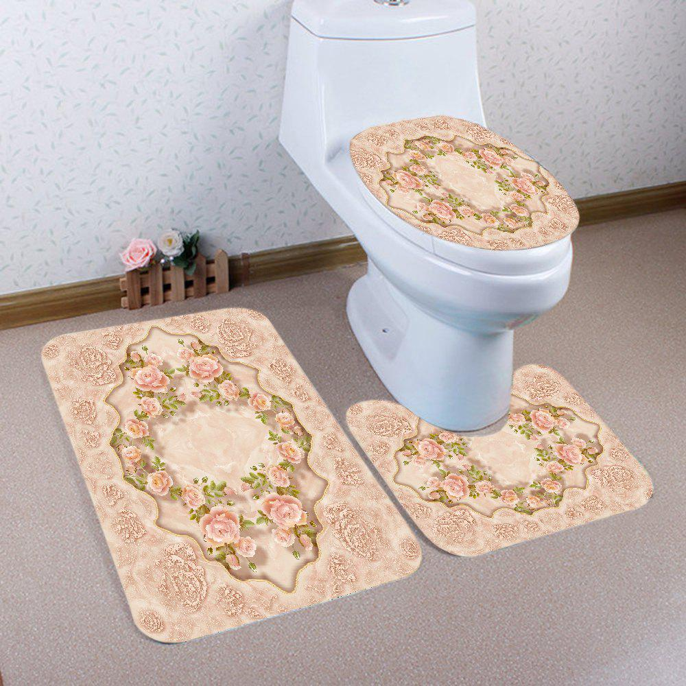 Unique Flowers Pattern 3 Pcs Bath Mat Toilet Mat