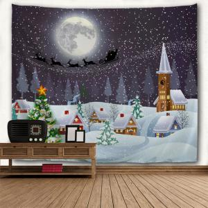 Christmas Snow Town Moon Wall Tapestry - COLORMIX W91 INCH * L71 INCH