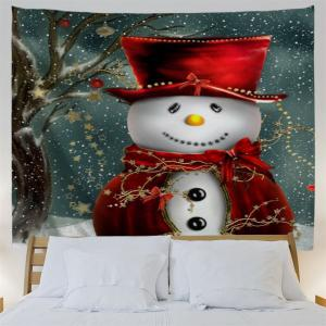Christmas Snowman Pattern Bedroom Tapestry - COLORMIX W91 INCH * L71 INCH