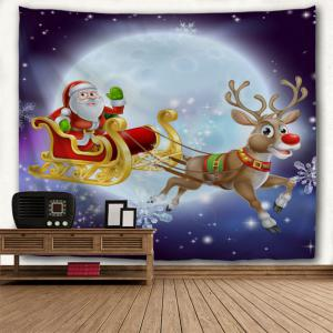 Christmas Sled Moon Night Wall Decor Tapestry -