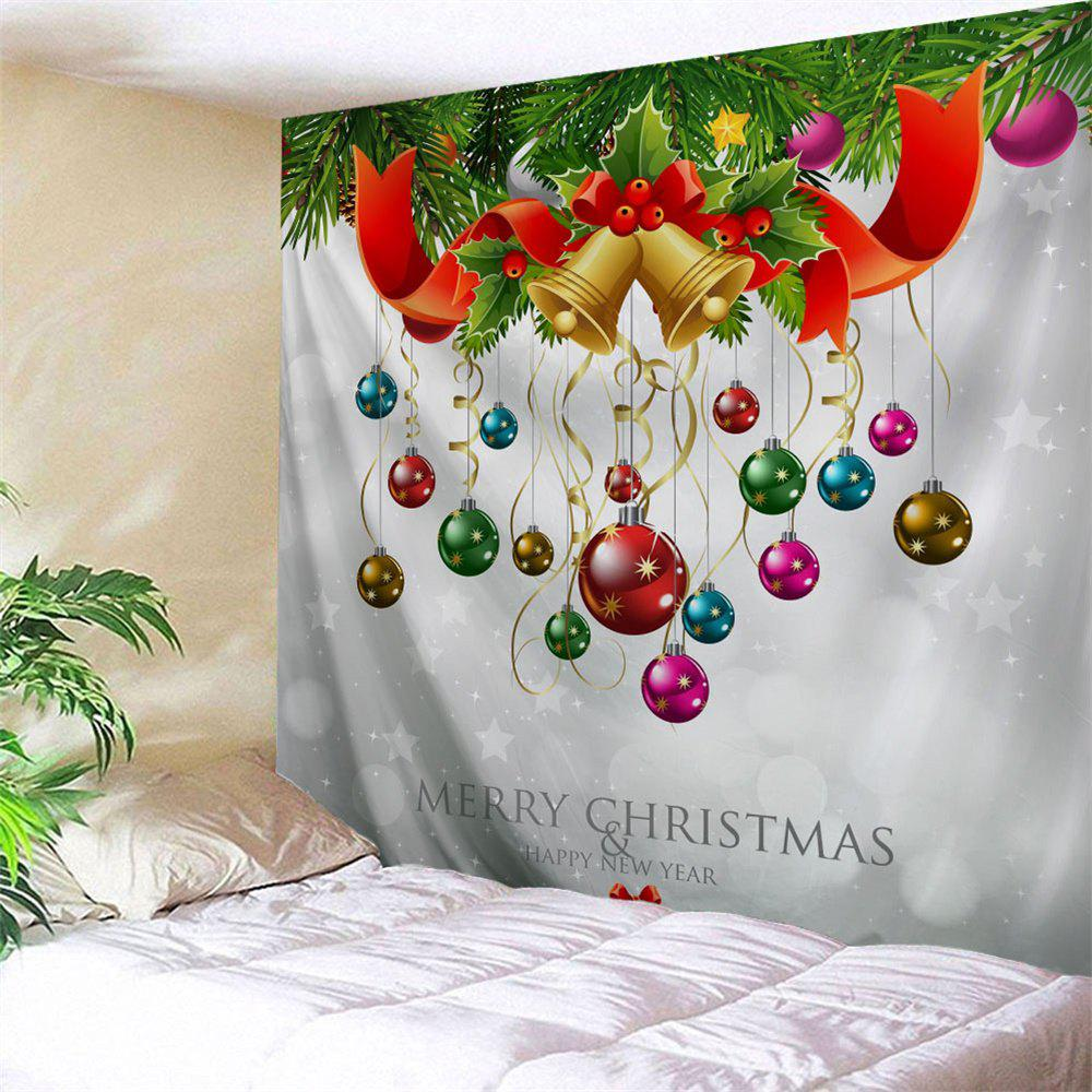 Christmas Bell Ball Wall Art TapestryHOME<br><br>Size: W79 INCH * L59 INCH; Color: GREY WHITE; Style: Festival; Theme: Christmas; Material: Polyester; Feature: Removable,Washable; Shape/Pattern: Ball,Plant; Weight: 0.2700kg; Package Contents: 1 x Tapestry;