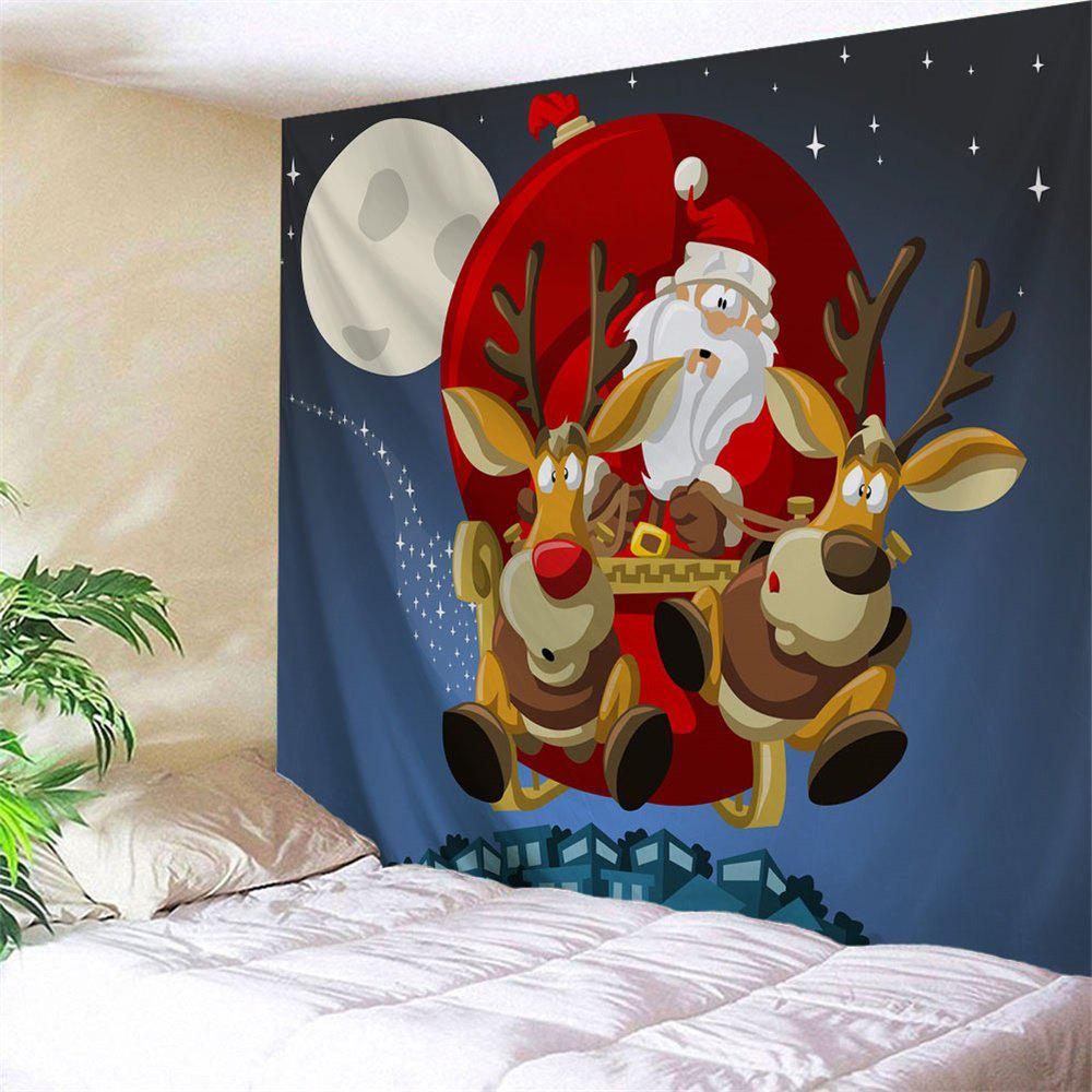 Wall Art Christmas Sled TapestryHOME<br><br>Size: W79 INCH * L71 INCH; Color: BLUE; Style: Festival; Theme: Christmas; Material: Polyester; Feature: Removable,Washable; Shape/Pattern: Animal,Figure,Moon; Weight: 0.3000kg; Package Contents: 1 x Tapestry;
