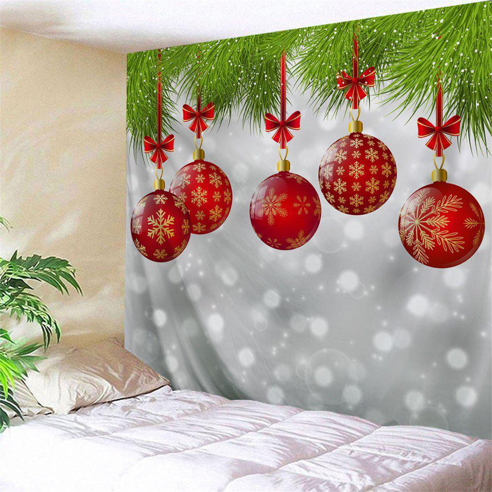 Wall Hanging Christmas Balls Print TapestryHOME<br><br>Size: W79 INCH * L59 INCH; Color: COLORMIX; Style: Festival; Theme: Christmas; Material: Polyester; Feature: Removable,Washable; Shape/Pattern: Ball,Plant; Weight: 0.2700kg; Package Contents: 1 x Tapestry;