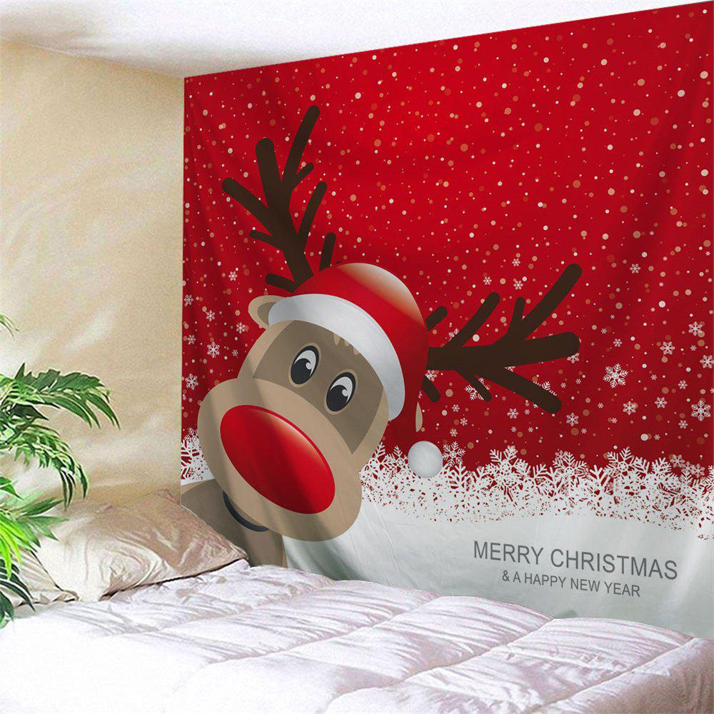 Christmas Reindeer Print Wall Art TapestryHOME<br><br>Size: W91 INCH * L71 INCH; Color: RED; Style: Festival; Theme: Christmas; Material: Polyester; Feature: Removable,Washable; Shape/Pattern: Animal; Weight: 0.3800kg; Package Contents: 1 x Tapestry;