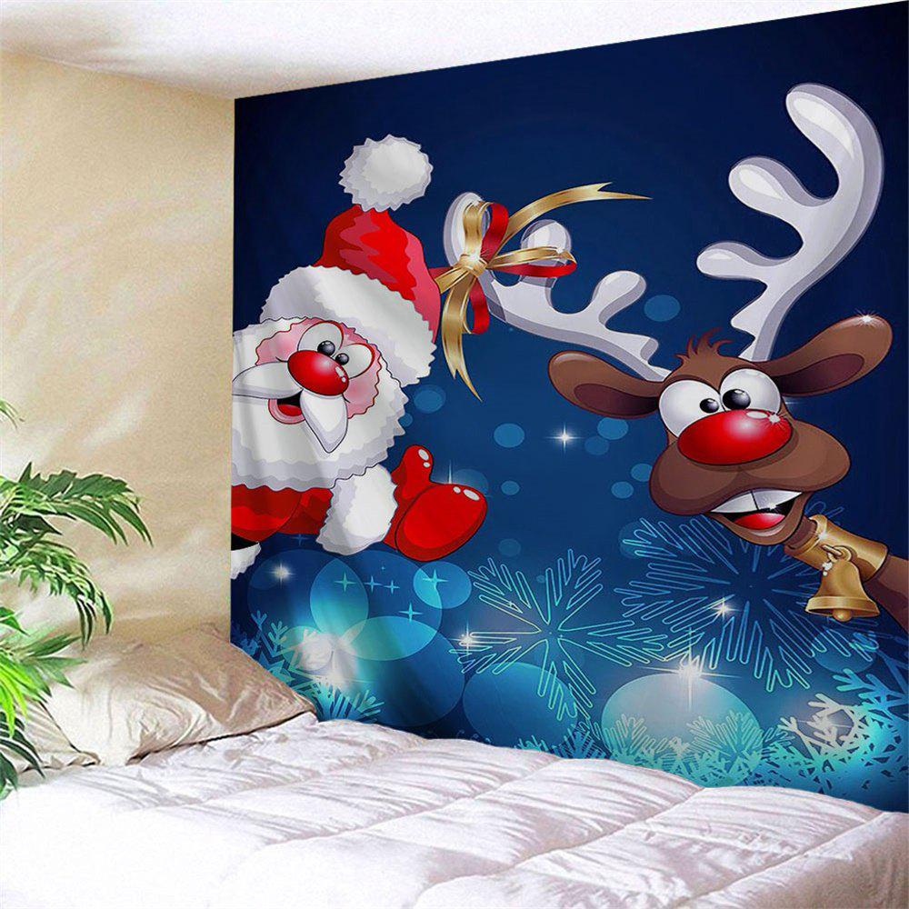 Wall Decor Santa Claus Reindeer TapestryHOME<br><br>Size: W79 INCH * L59 INCH; Color: BLUE; Style: Festival; Theme: Christmas; Material: Polyester; Feature: Removable,Washable; Shape/Pattern: Animal,Figure,Print; Weight: 0.2700kg; Package Contents: 1 x Tapestry;