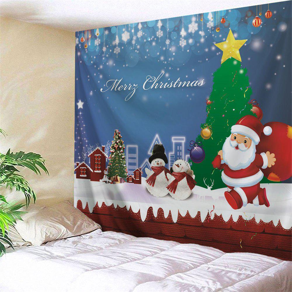 Christmas Snowman Town Wall Hanging TapestryHOME<br><br>Size: W59 INCH * L51 INCH; Color: COLORMIX; Style: Festival; Theme: Christmas; Material: Polyester; Feature: Removable,Washable; Shape/Pattern: Plant,Print; Weight: 0.1800kg; Package Contents: 1 x Tapestry;