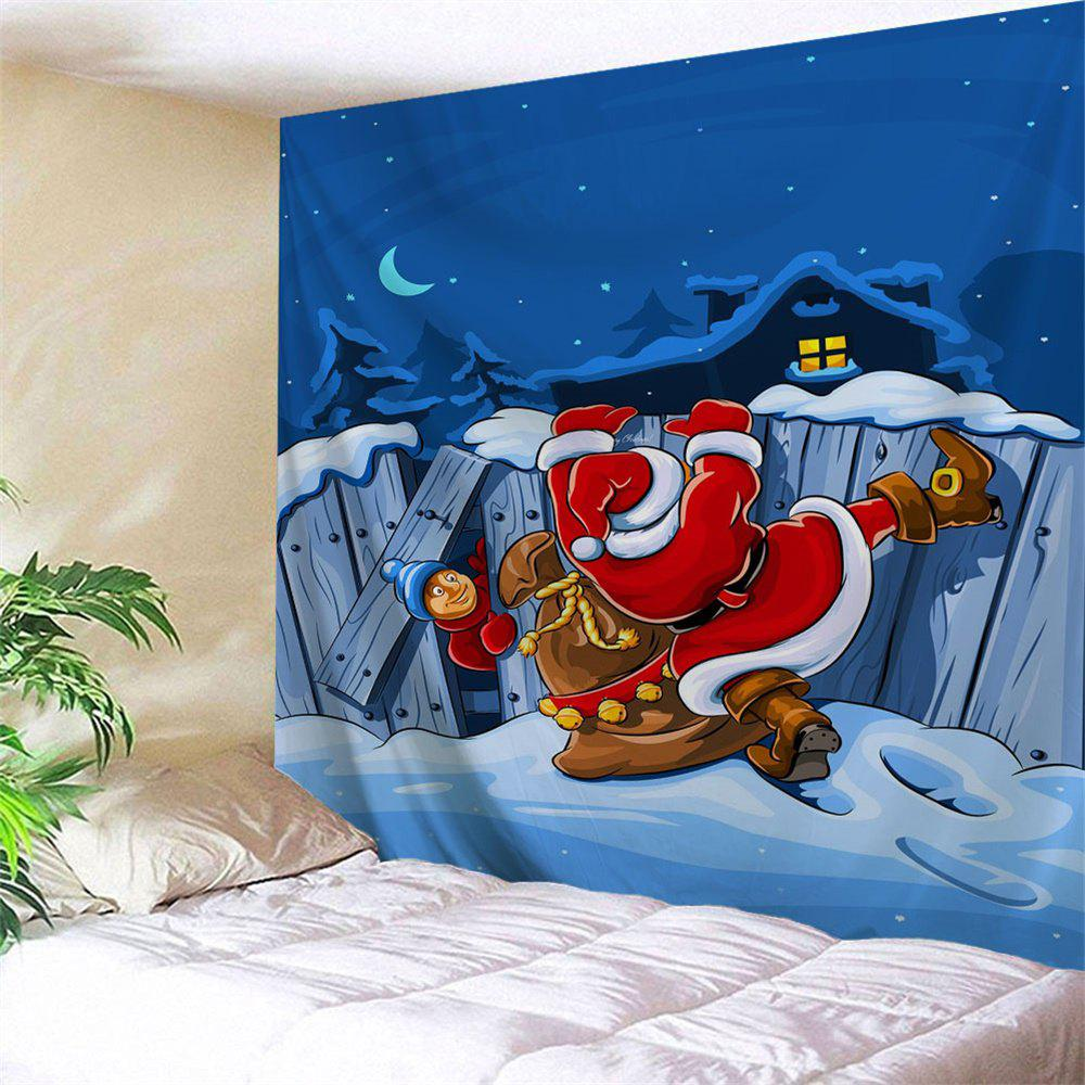 Christmas Graphic Santa Claus Wall TapestryHOME<br><br>Size: W91 INCH * L71 INCH; Color: BLUE; Style: Festival; Theme: Christmas; Material: Polyester; Feature: Removable,Washable; Shape/Pattern: Print; Weight: 0.3800kg; Package Contents: 1 x Tapestry;