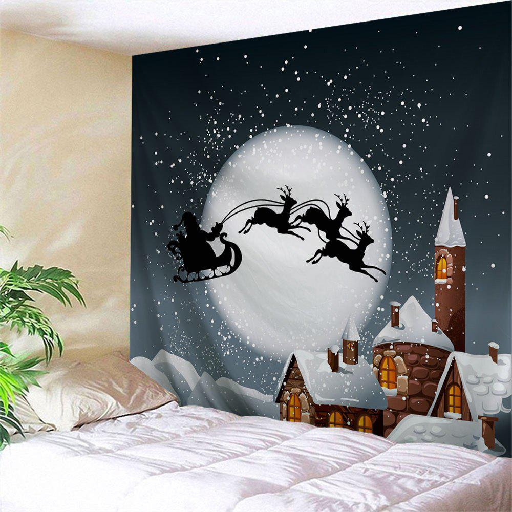 Christmas Sled Moon Wall Hanging TapestryHOME<br><br>Size: W59 INCH * L51 INCH; Color: SMOKY GRAY; Style: Festival; Theme: Christmas; Material: Polyester; Feature: Removable,Washable; Shape/Pattern: Animal,Buildings,Moon; Weight: 0.1800kg; Package Contents: 1 x Tapestry;