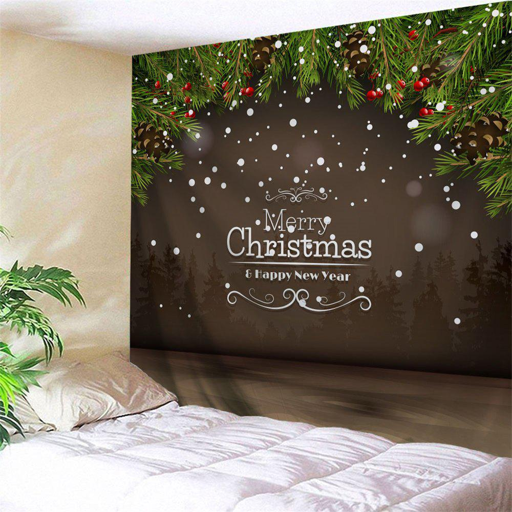 Wall Art Merry Christmas Graphic TapestryHOME<br><br>Size: W91 INCH * L71 INCH; Color: DUN; Style: Festival; Theme: Christmas; Material: Polyester; Feature: Removable,Washable; Shape/Pattern: Letter,Plant; Weight: 0.3800kg; Package Contents: 1 x Tapestry;