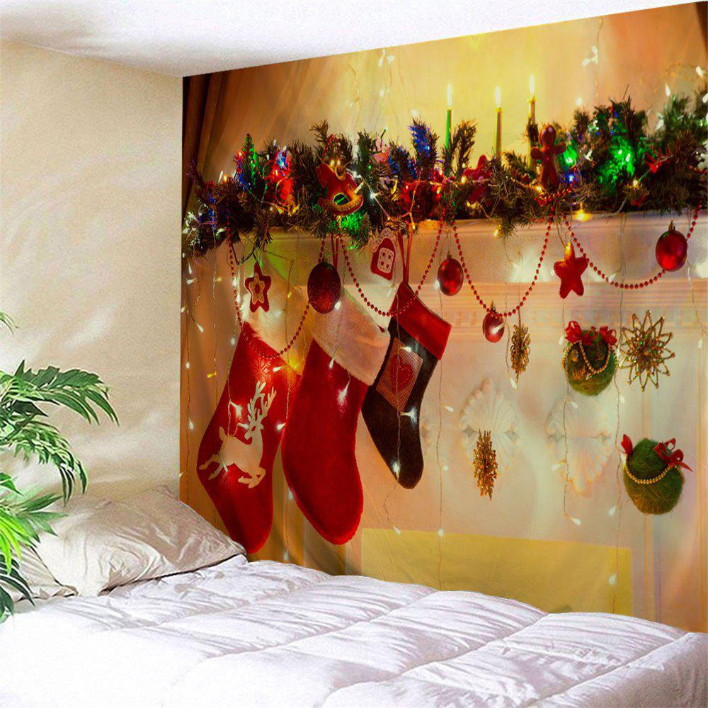 Christmas Socks Printed Bedroom Wall TapestryHOME<br><br>Size: W79 INCH * L71 INCH; Color: YELLOW; Style: Festival; Theme: Christmas; Material: Polyester; Feature: Removable,Washable; Shape/Pattern: Ball,Star; Weight: 0.3000kg; Package Contents: 1 x Tapestry;