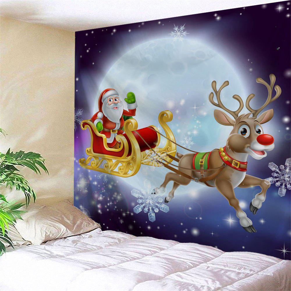 Christmas Sled Moon Night Wall Decor TapestryHOME<br><br>Size: W59 INCH * L51 INCH; Color: COLORMIX; Style: Festival; Theme: Christmas; Material: Polyester; Feature: Removable,Washable; Shape/Pattern: Animal,Moon; Weight: 0.1800kg; Package Contents: 1 x Tapestry;