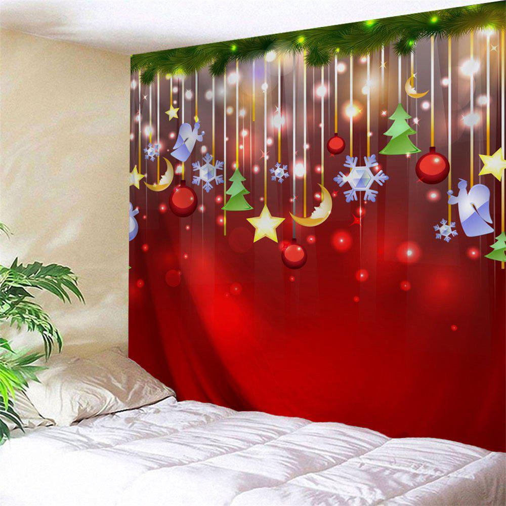 Christmas Star Moon Tree Wall TapestryHOME<br><br>Size: W59 INCH * L59 INCH; Color: RED; Style: Festival; Theme: Christmas; Material: Polyester; Feature: Removable,Washable; Shape/Pattern: Ball,Moon,Plant,Star; Weight: 0.2100kg; Package Contents: 1 x Tapestry;