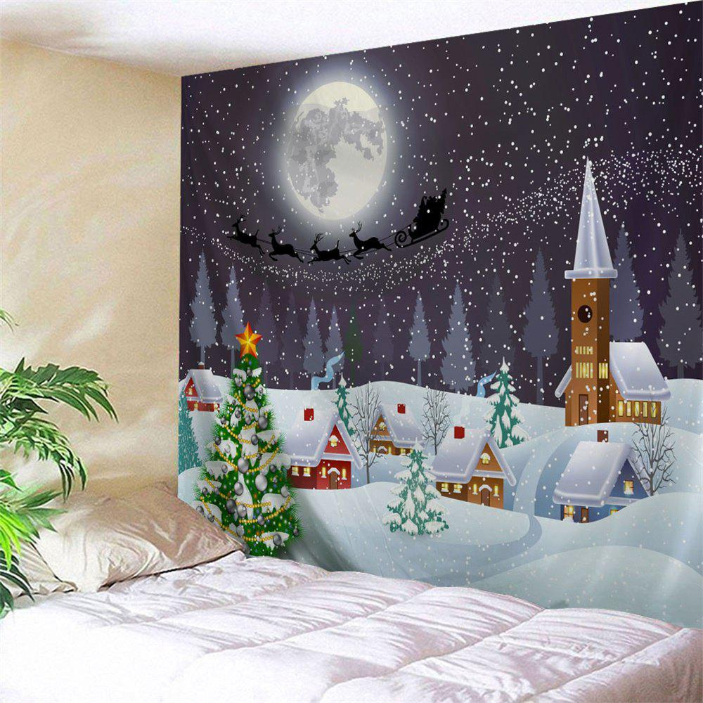 Christmas Snow Town Moon Wall TapestryHOME<br><br>Size: W59 INCH * L59 INCH; Color: COLORMIX; Style: Festival; Theme: Christmas; Material: Polyester; Feature: Removable,Washable; Shape/Pattern: Buildings,Moon,Plant; Weight: 0.2100kg; Package Contents: 1 x Tapestry;