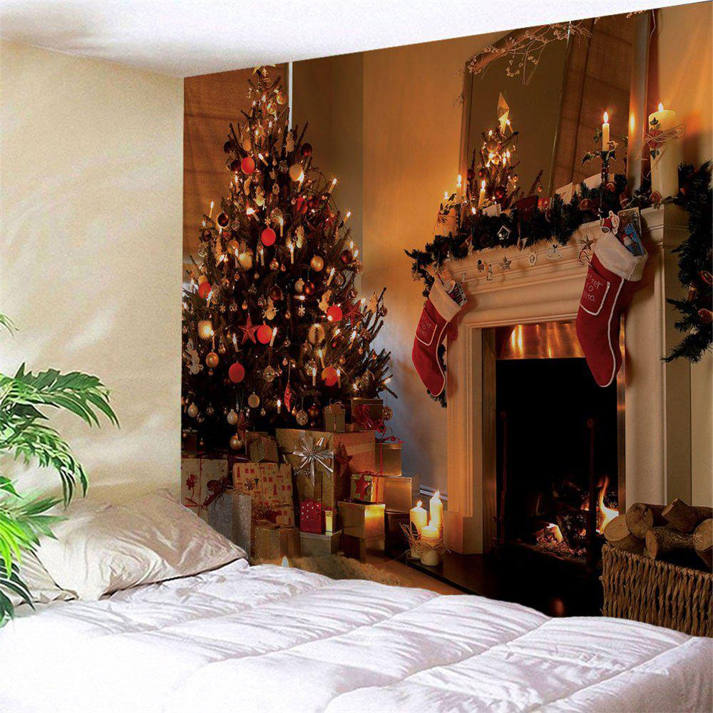 Christmas Fireplace Printed Wall Decor TapestryHOME<br><br>Size: W79 INCH * L71 INCH; Color: COLORMIX; Style: Festival; Theme: Christmas; Material: Polyester; Feature: Removable,Washable; Shape/Pattern: Plant,Print; Weight: 0.3000kg; Package Contents: 1 x Tapestry;